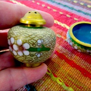 Antique Chinese Salt Cellar And Pepper